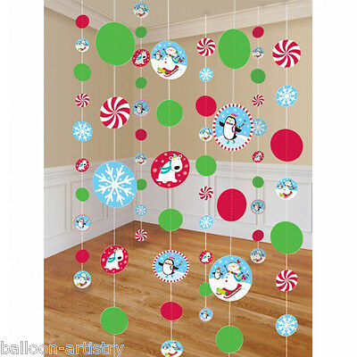 8 Christmas Cheer Happy Snowman Party Hanging Cutout String Decorations