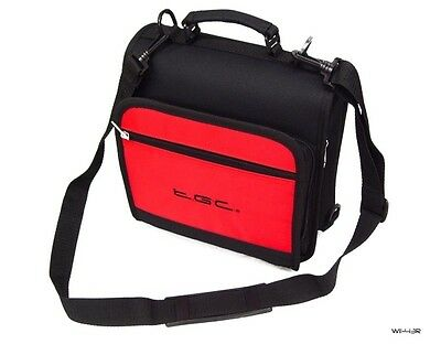 "Crimson Red & Black Case Bag for Philips PD9030/05 23cm/9"" Portable DVD Player"