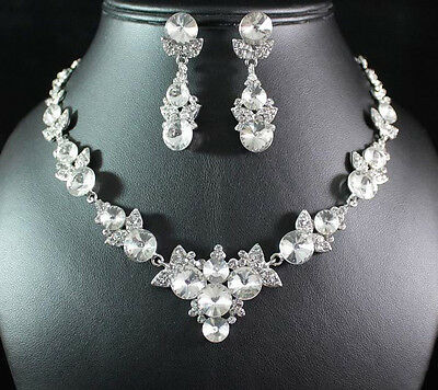 FLORAL CLEAR AUSTRIAN RHINESTONE CRYSTAL NECKLACE EARRINGS SET BRIDAL N1605