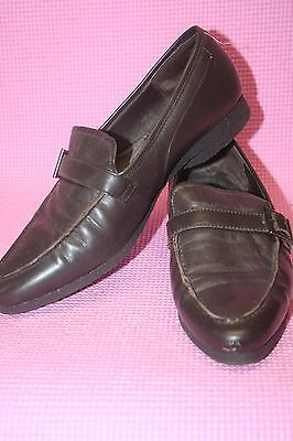 r- SHOES WOMENS SZ 8.5 CLOUD WALKER BROWN LEATHER LOAFERS GENTLY USED