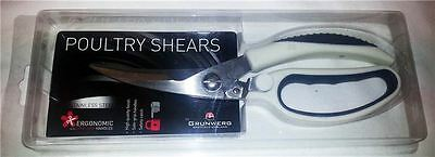 Grunwerg Kitchen Poultry Meat Scissors Shears White & Grey Handles - New