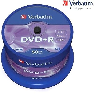Verbatim DVD+R 4.7GB 16x Speed 120min Recordable DVD Disc Spindle Pack 50 (43550