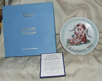 1991 Schmid Hummel Christmas MINI PLATE Message from Above #1 of 4 Box & Papers