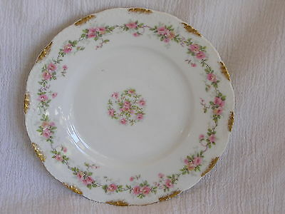 Vintage French Theodore Haviland Limoges Pink Flowers Bread Dessert Plate Dish