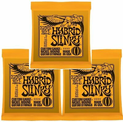 3 x Ernie Ball 2222 Nickel Hybrid Slinky Electric Guitar Strings  9 - 46 3 Packs