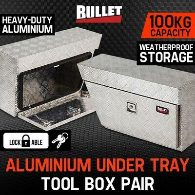 NEW Pair of BULLET Under Tray Ute Tool Boxes Aluminium Vehicle Box Body Toolbox
