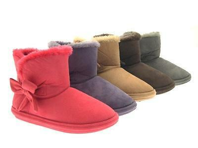 Womens Soft Winter Booties Fur Lined Ladies Slippers Boots Faux Suede Sizes 3-8