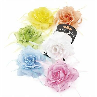 Rose Hair Flower Clip Grip Elastic Glitter Feather Detail Bride Wedding Organza