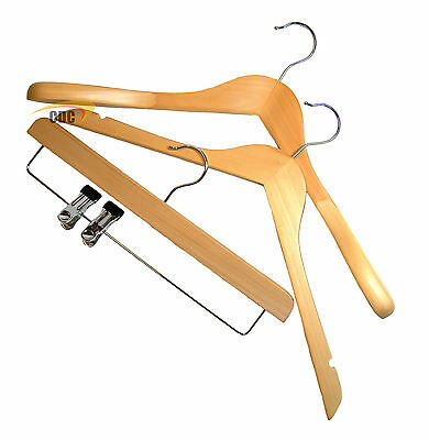 The Hanger Store™ Wooden Strong Coat Hangers, Adults & Kids Clothes Hangers