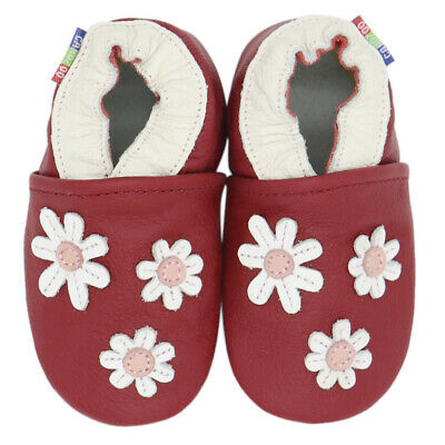 carozoo 3 flowers dark red 18-24m soft sole leather baby shoes