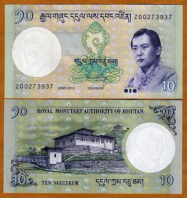 Bhutan, 10 Ngultum, 2013, P-NEW, Z-Prefix, UNC > Replacement