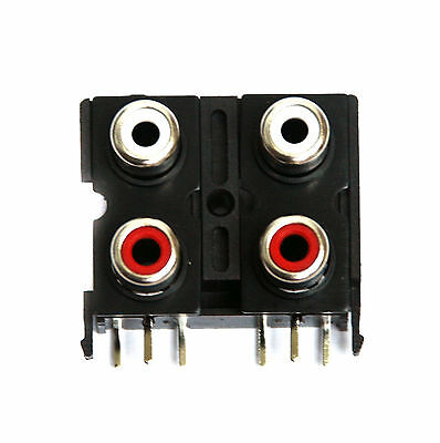 50pc RCA Jack x4p Female Connector Set Vertical PCB pin Com Ground ABS Housing