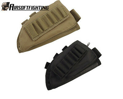 2PCS Military Tactical Rifle Stock Ammo Pouch with Cheek Leathe Pad TAN+Black A