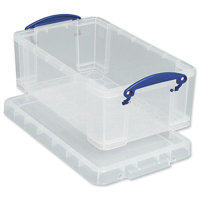 1 Really Useful Box Clear Plastic Storage 9L 9C 9 Litre A4 Size with Lid ¸ R1