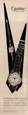 1961 Cartier Florintine finish Gold Graduation Gift Watch PRINT AD
