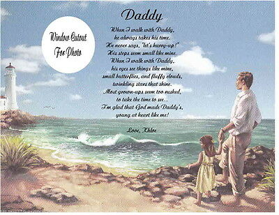 Daddy Personalized Poem From Little Girl Father's Day-Christmas or Birthday Gift