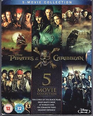 PIRATES OF THE CARIBBEAN 5-MOVIE COLLECTION New BLU-RAY Set 1-5 Disney Complete