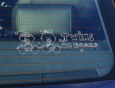 Static Cling Window Car Sign/Decal Twins on Board 100 x 250mm Babys