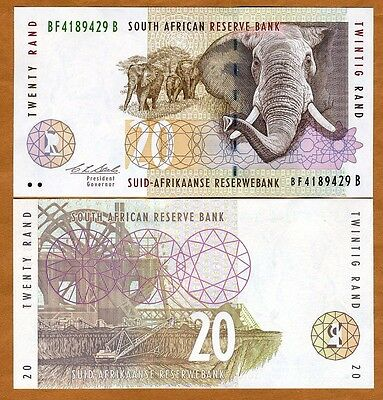 South Africa, 20 rand, ND (1993), P-124a, UNC   Elephant