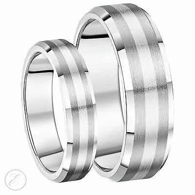 His Hers 5&7mm Titanium and Silver  Bevelled Edge Wedding Rings