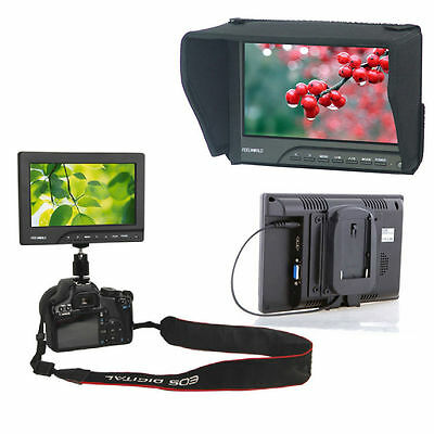 "FEELWORLD 7"" On Camera Field Monitor 1080P HDMI Video Peaking +F970 Battery Slot"