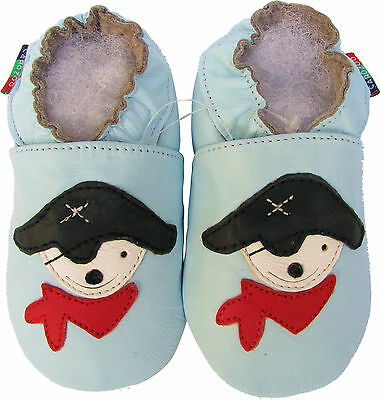 shoeszoo pirate light blue 0-6m S soft sole leather baby shoes