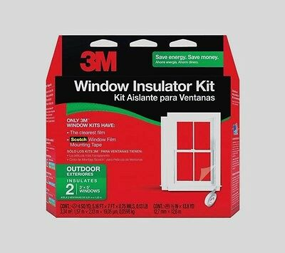 "New 3M 2 - 3'x5' OUTDOOR Window Insulator Kit Clear Film 62"" x 84"" 2170W6 SAVE$$"