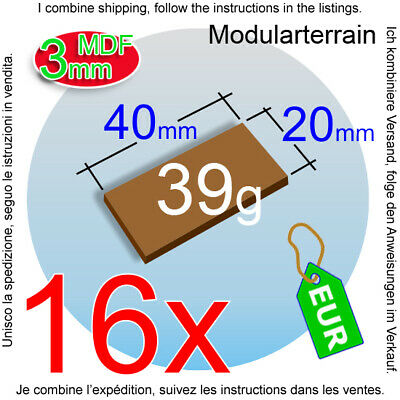 20 BASES RECTANGULARES DM 20x40mm RECTANGLE MDF WARGAME TABLETOP GAME JUEGO ROL
