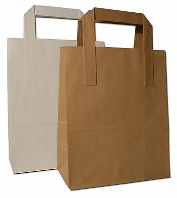 Small Kraft Gift Takeaway SOS Carrier Bags in White or Brown
