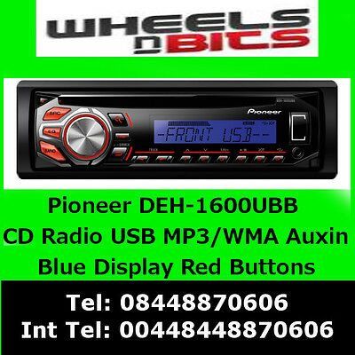 Pioneer DEH-1600UBB Car CD MP3 Stereo USB Aux In Player (Blue Red Illumination)