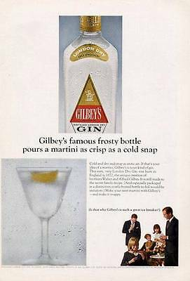 1965 Gilbey's GIN Vintage Bottles - Worlds Best Vodkas PRINT AD