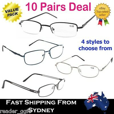 10 Pairs Mix Colour Metal Unisex Reading Glasses 4 Styles +1.0-4.0