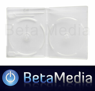 100 x Blu Ray Double Clear 12mm Quality Cases with logo - U.S Standard Size