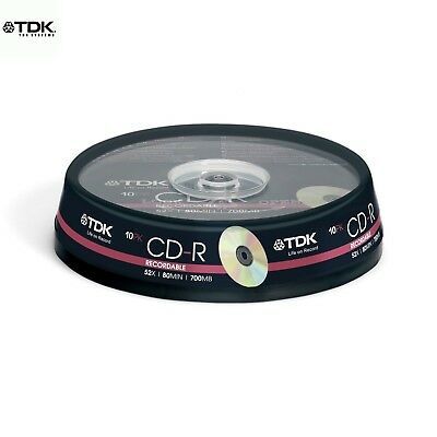 TDK CD-R 700MB 52x Speed 80min Recordable CD Discs Spindle Pack 10 (T19539 )