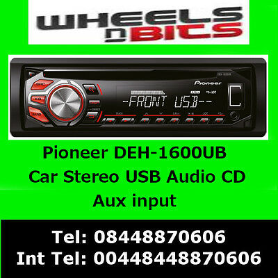 PIONEER DEH 1600UB CD MP3 USB AUX STEERING CONTROL READY Red buttons