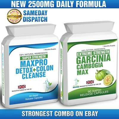 90 Garcinia Cambogia & 60 Colon Cleanse Detox Pills Max Plus Free Dieting Tips
