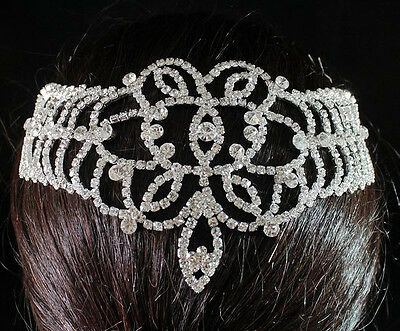 Bridal Clear Austrian Rhinestone Crystal Silver Headpiece Tiara Belly Dance 1607