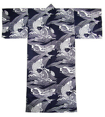 "Japanese Men's 100% Cotton 64""L Yukata Kimono Carp Koi Navy XXL, Made in Japan"