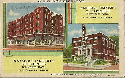 Postcard America American Institute Of Business And Of Commerce In Iowa