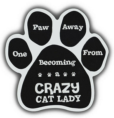 Cat Paw Shaped Magnets: 1 PAW AWAY FROM CRAZY CAT LADY | Cars, Refrigerators