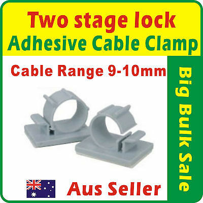 20 x Two Stage Lock Adhesive Nylon Wire Cable Clamp Range 9-10mm