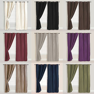 2x Panels/Pair Faux Suede Metal Grommet Curtain Drape Set Washable 54 x 84