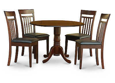 5PC DINETTE KITCHEN DINING SET ROUND TABLE with 4 FAUX LEATHER CHAIR IN MAHOGANY