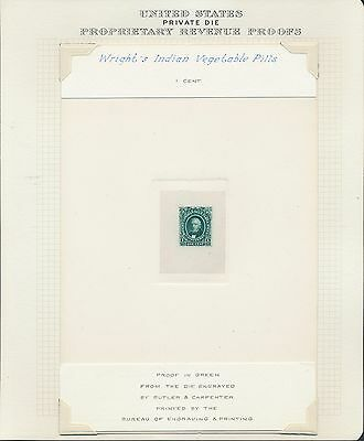 "#Rs274P1 Xf-S Large Die Proof On India ""Wright's Indian Vegetable Pills"" Bq7983"