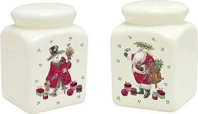 SUKI GIFTS SANTA AND SNOWMAN CHRISTMAS SALT AND PEPPER POTS BOXED SET NEW GIFT