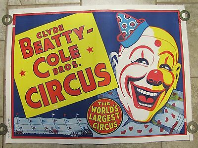 """Orig Old Circus Poster - CLYDE BEATTY-COLE BROS CIRCUS """"WORLDS LARGEST CIRCUS"""""""