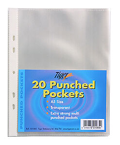 20 A5 Clear Multi Punched Pockets For Ring Binders Strong Poly Plastic Sleeves