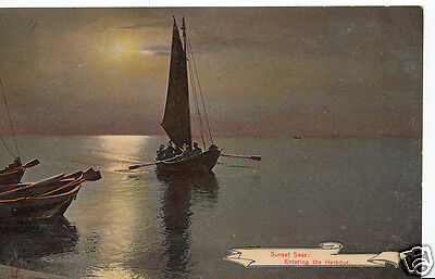 Sailing Postcard - Sunset Seas: Entering The Harbour   N787