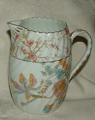Victorian 1880s Staffordshire Aesthetic CREAMER Blue Pink Floral Ribbed Swirl