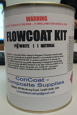 White Flowcoat for Fibreglass 1kg kit incl. MEKP - (FREIGHT PER DESCRIPTION)